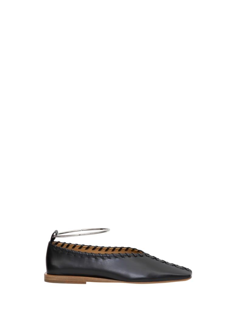 Jil Sander Ballet Flat Shoes With Metallic Anklestrap - Nero