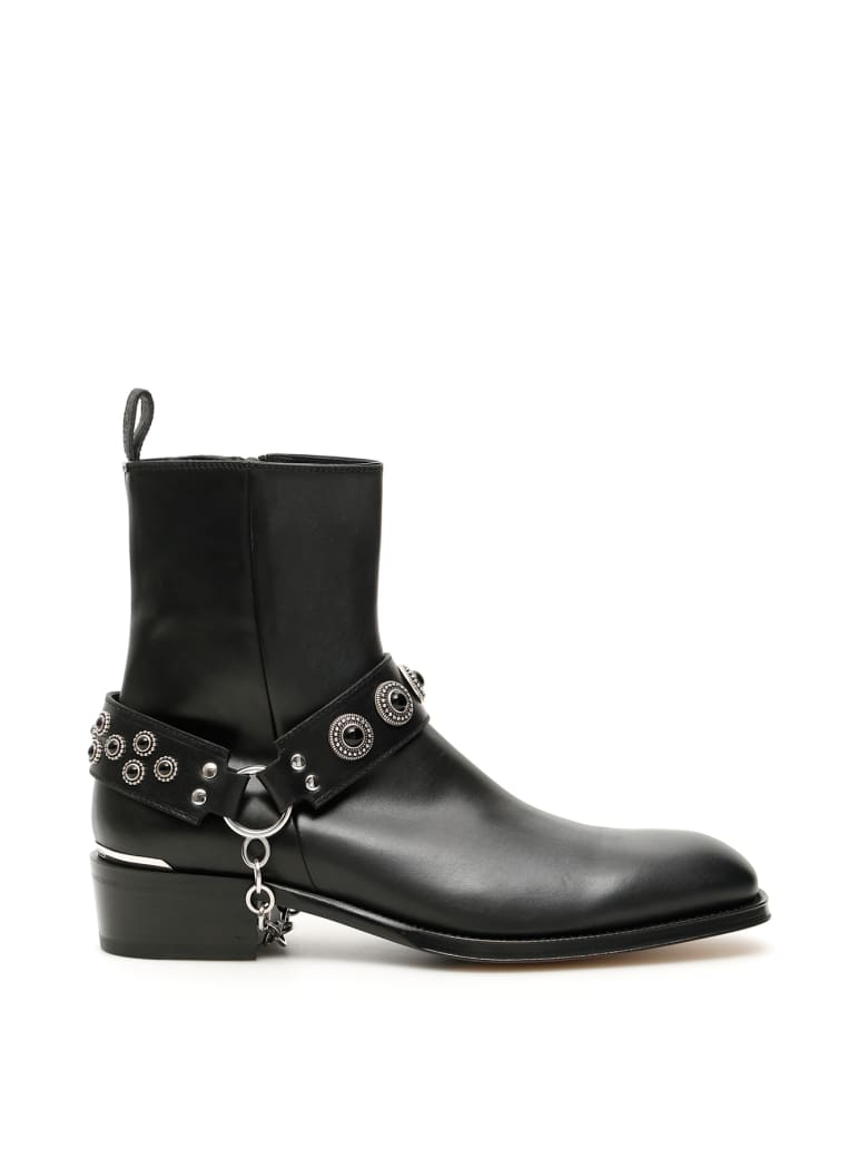 Alexander McQueen Harness Booties - BLACK BLACK SILVER (Black)