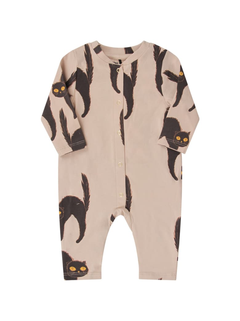 Mini Rodini Grey Babykids Babygrow With Black Cat - Grey