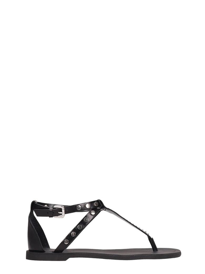 Kendall + Kylie Black Leather Flip Flops Royal Sandals - black