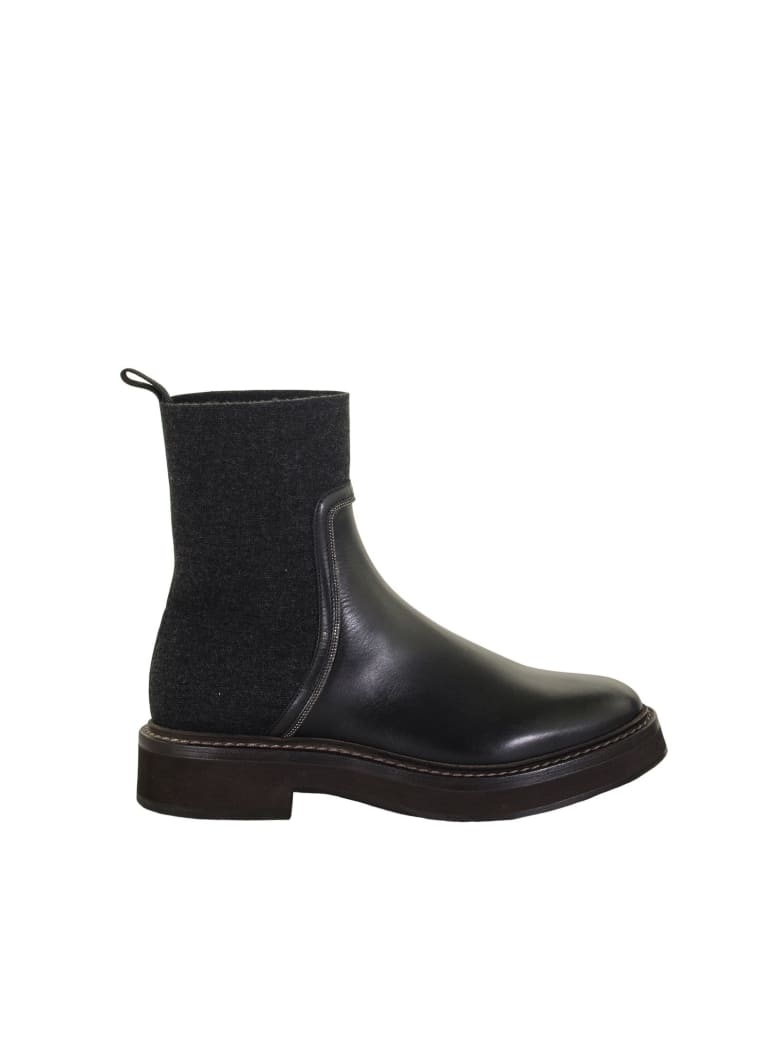 Brunello Cucinelli Matte Calfskin And Cashmere Knit Boots With Shiny Contour - Black