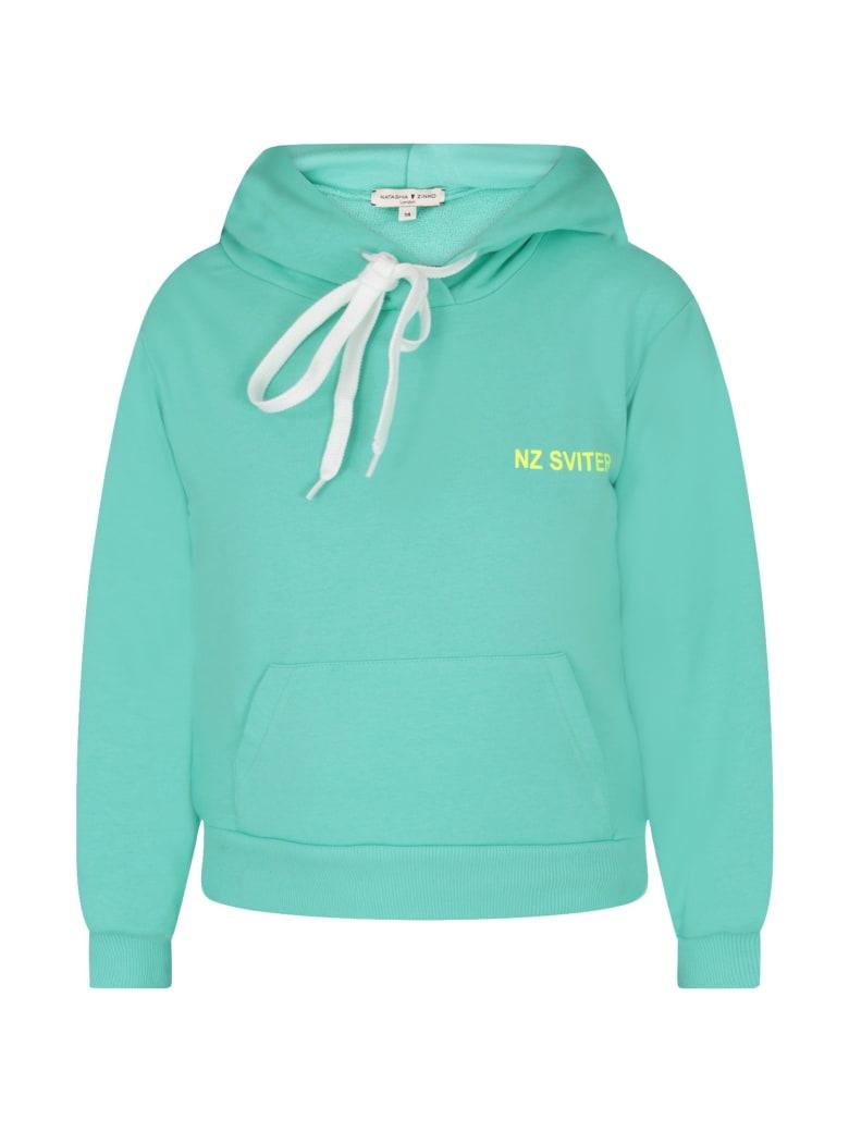 Natasha Zinko Teal Sweatshirt For Girl With Noen Yellow Logo - Green