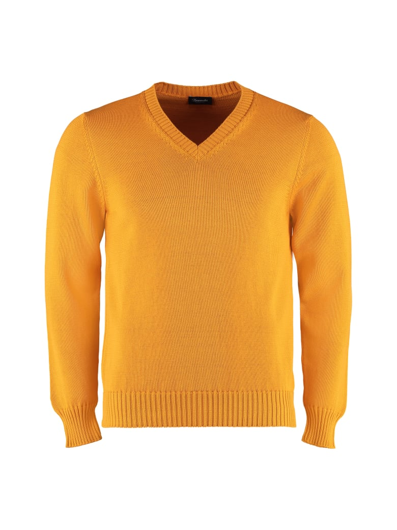 Drumohr Cotton V-neck Pullover - Ocher