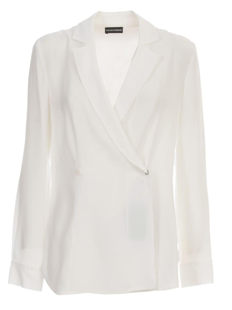 Emporio Armani Double Breasted Jacket Crepe - Bianco Seta