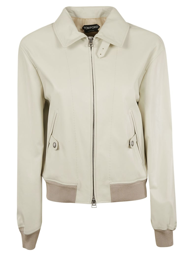 Tom Ford Zip-up Bomber - Chalk