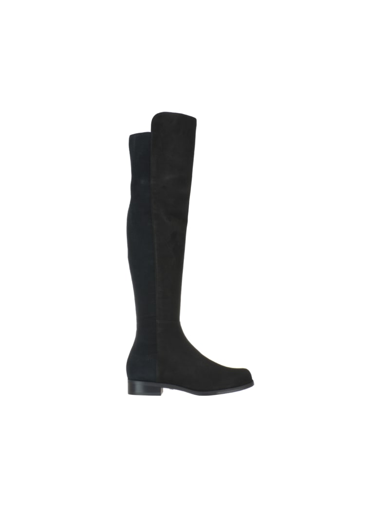 Stuart Weitzman 5050 Suede Elastic Black Boots - Black