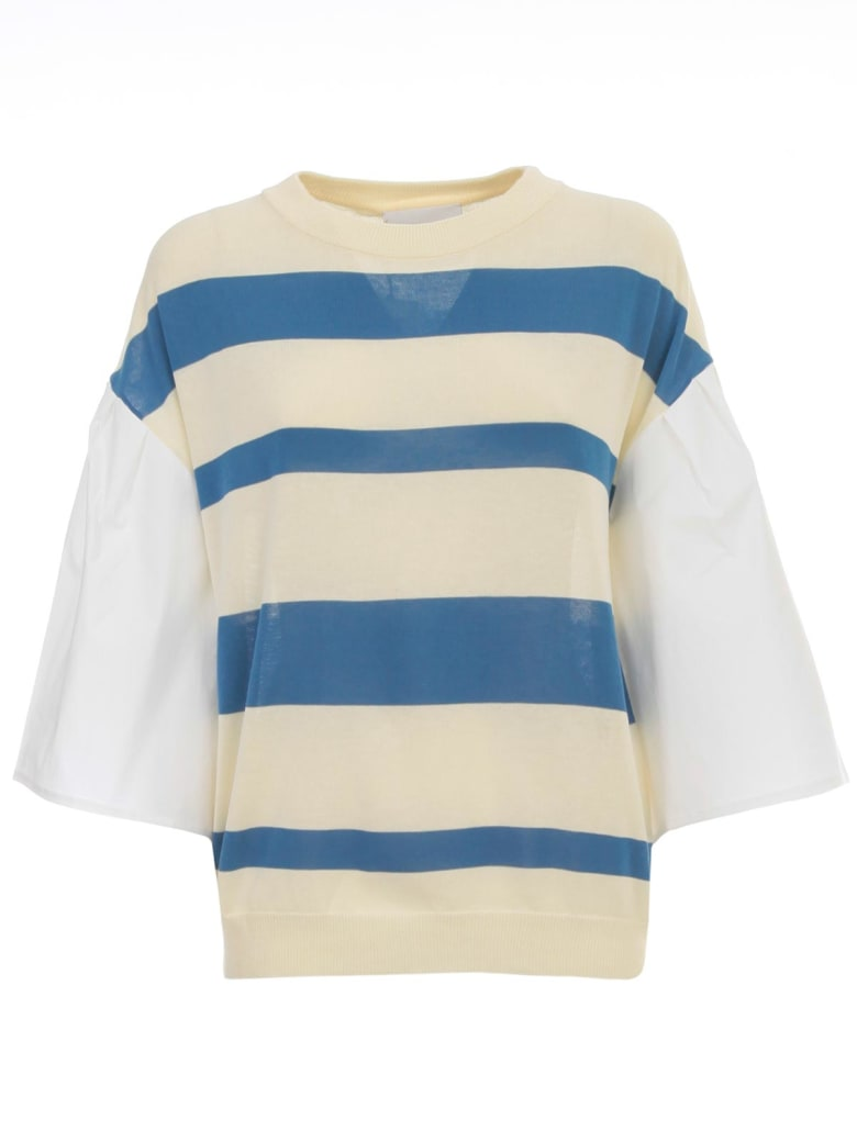 Erika Cavallini Alba Sweater W/popeline Sleeve And Stripes - M Icecream Snorkel