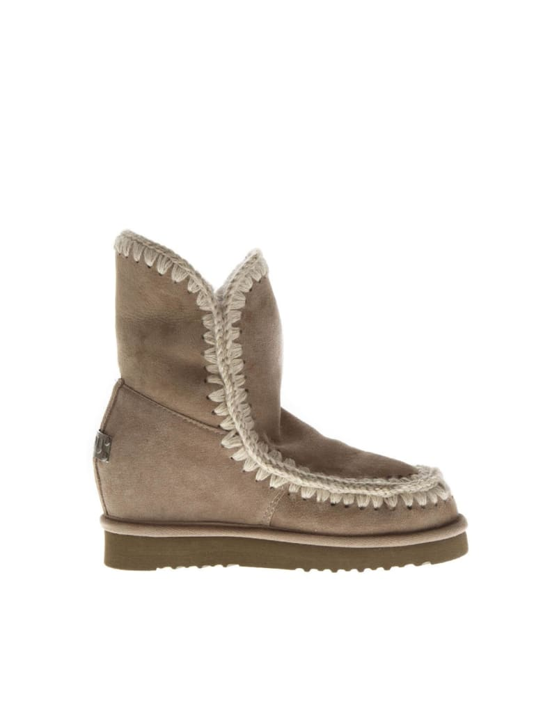Mou Eskimo Taupe Wool & Leather Boots - Taupe