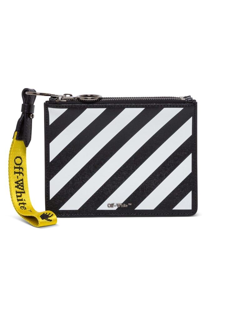 Off-White Diagonal Leather Clutch - Black