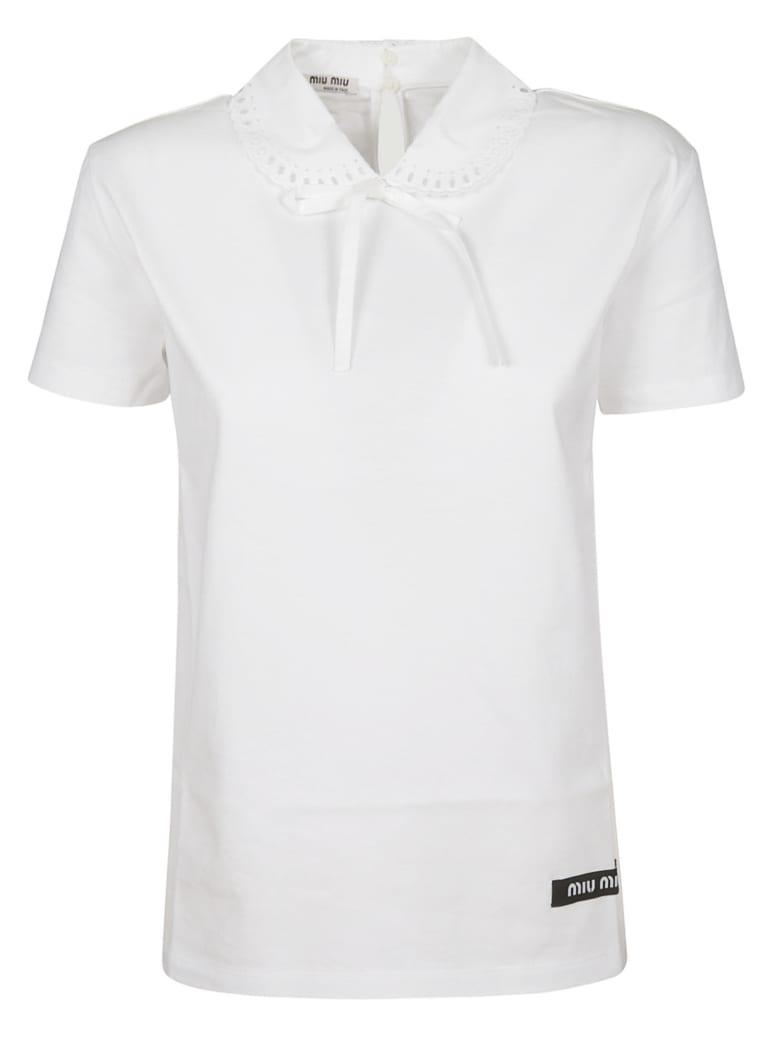 Miu Miu Lace Collar T-shirt - White
