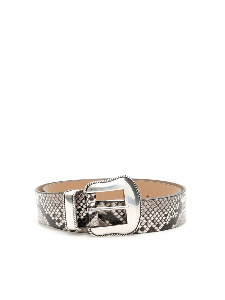 B-Low the Belt Python Print Villain Belt - WHITE SILVER (Black)