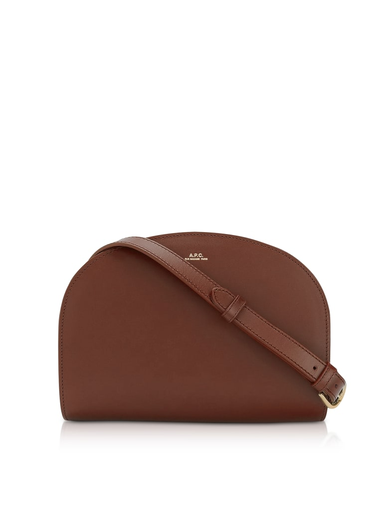 A.P.C. Half Moon Thick Leather Crossbody Bag - Nut Brown