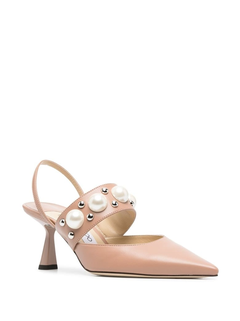 Jimmy Choo Breslin Pumps  In Pink Leather With Pearls Inserts - Pink