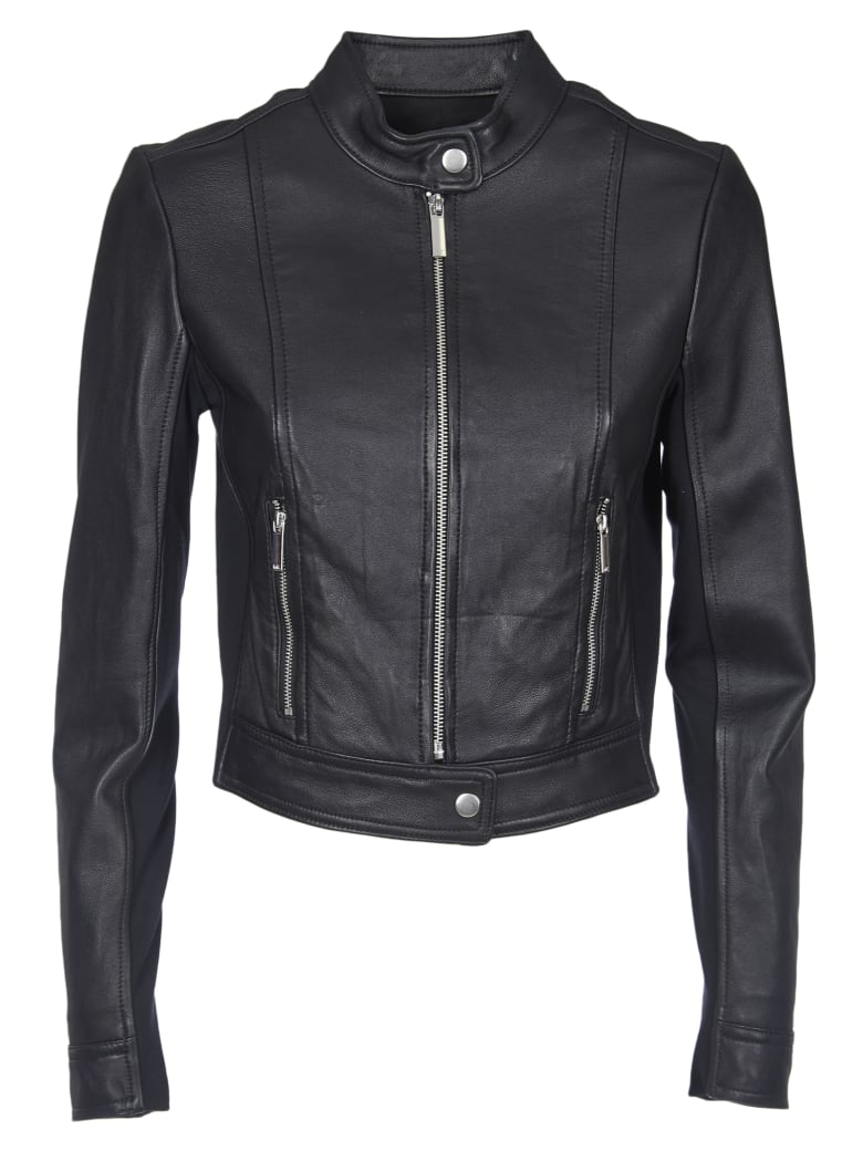 purchase cheap hot-selling cheap cheap sale Best price on the market at italist | MICHAEL Michael Kors Michael Kors  Black Leather Jacket And Fabric Inserts