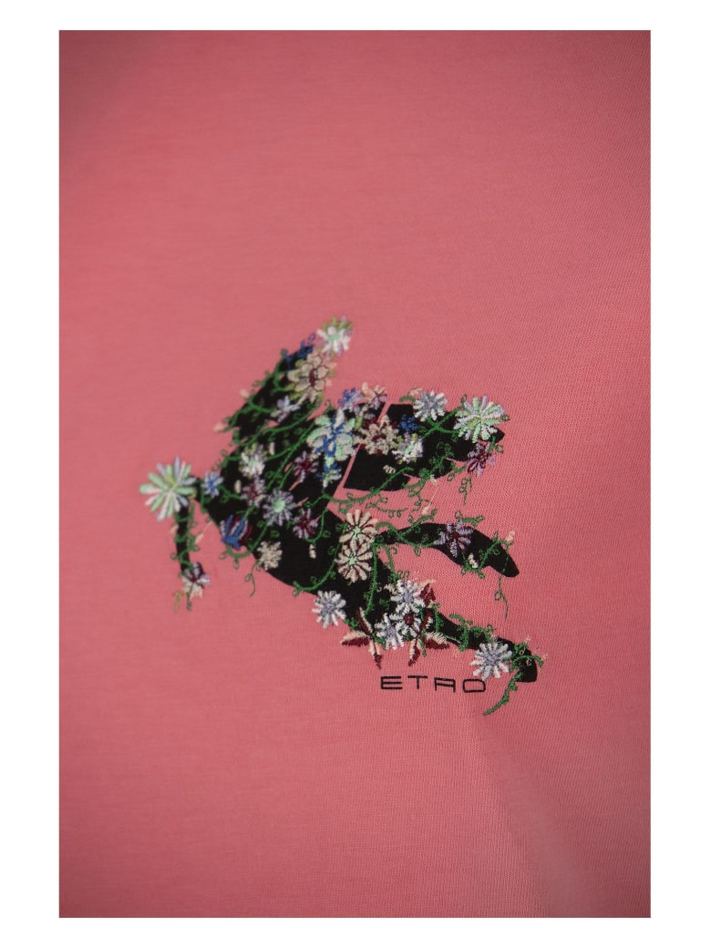 Etro T-shirt With Embroidered Pegaso - Pink