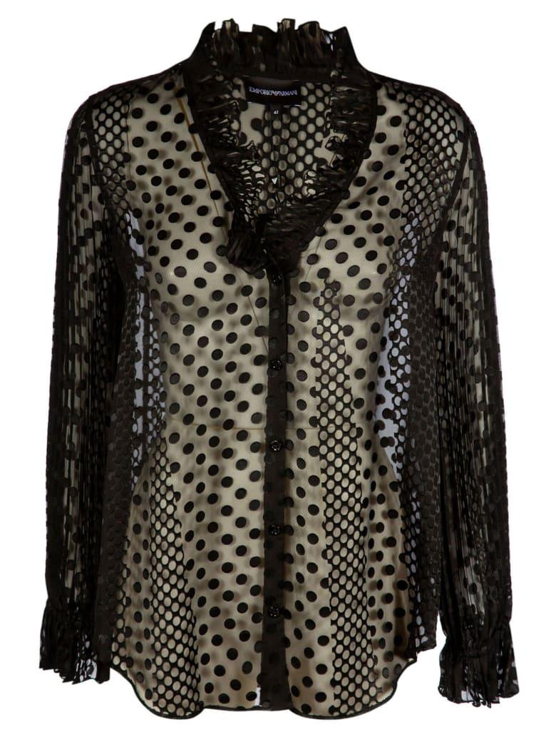 Emporio Armani Lace Ruffled Shirt - Nero