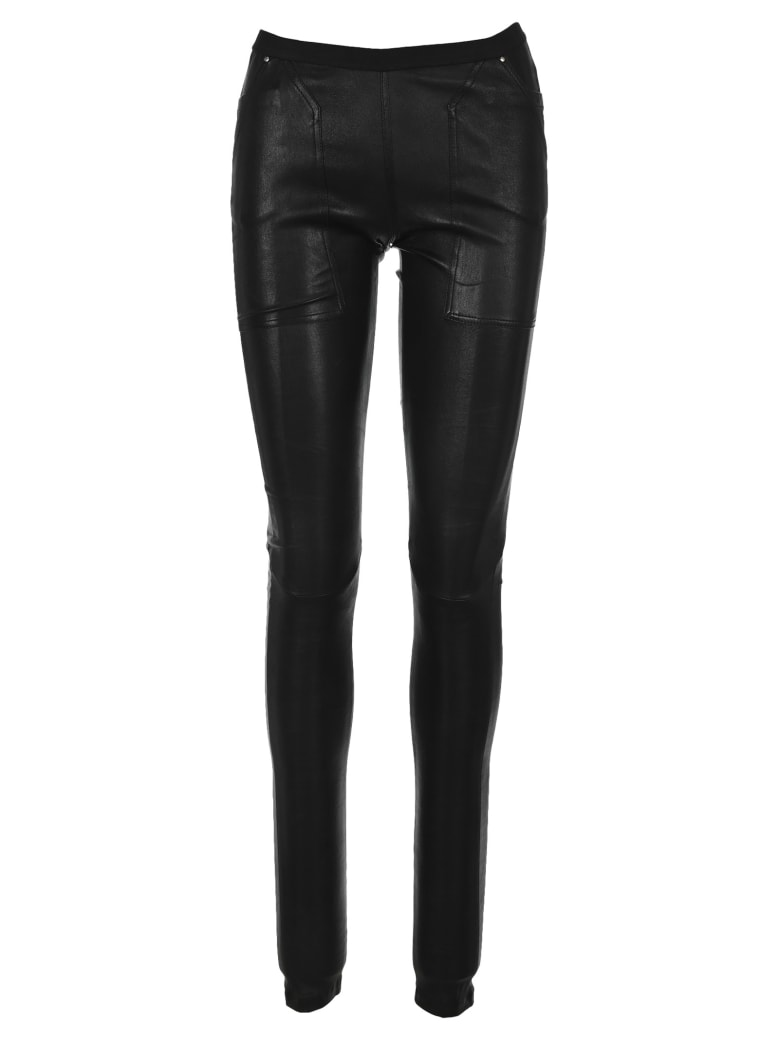 Rick Owens Leather Leggings - BLACK