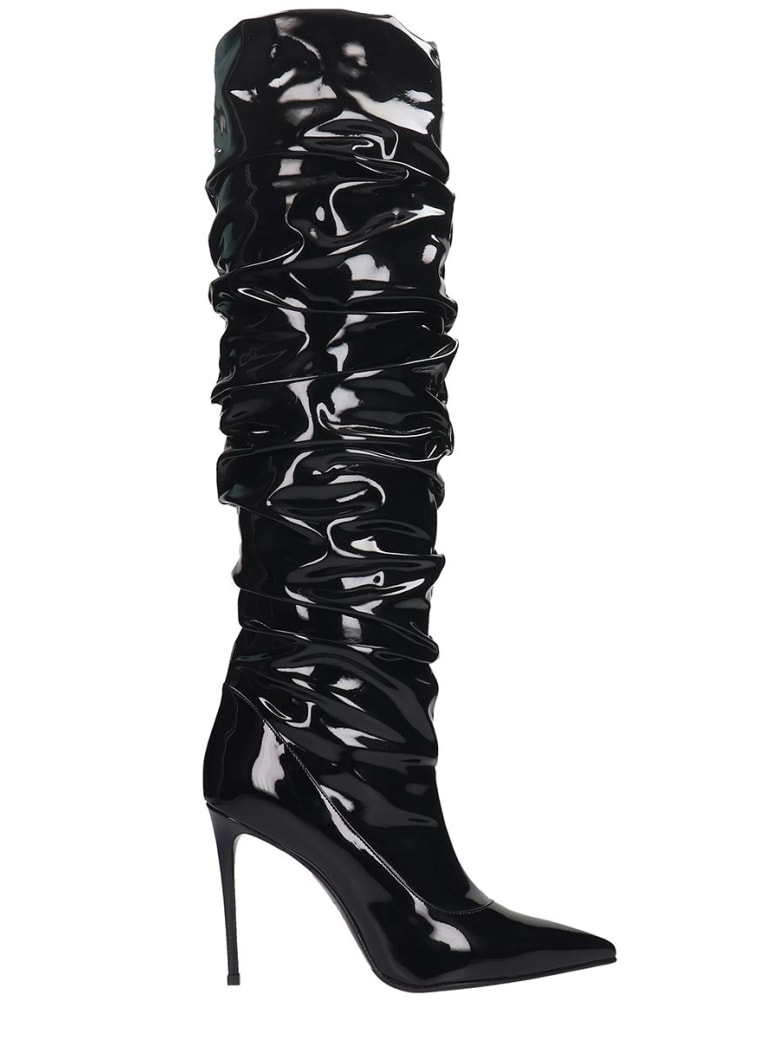 Le Silla High Heels Boots In Black Leather - black