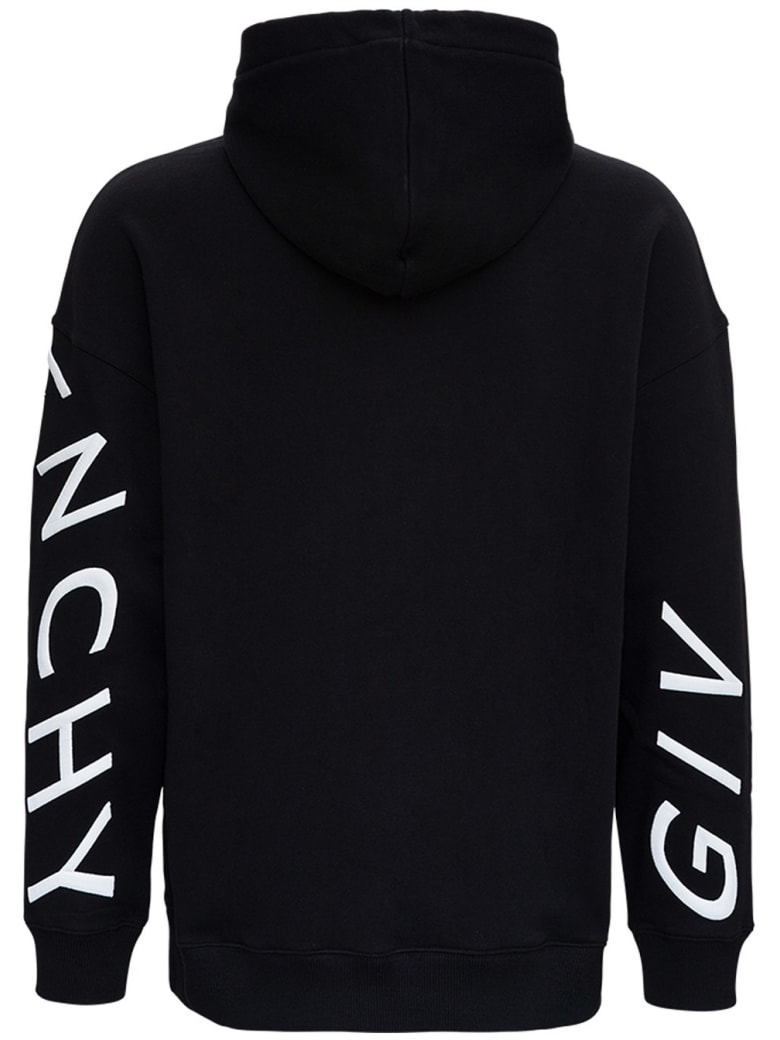 Givenchy Black Jersey Hoodie With Refracted Logo - Black