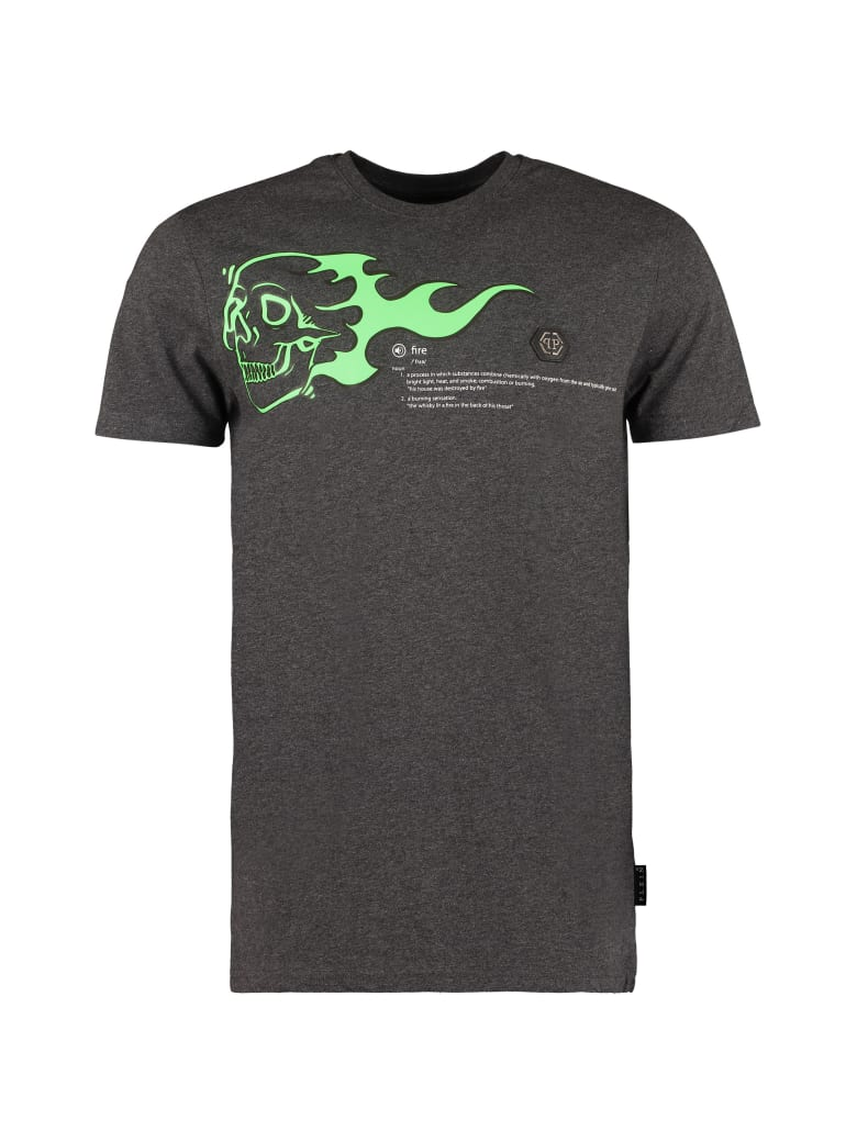 Philipp Plein Printed Cotton T-shirt - grey
