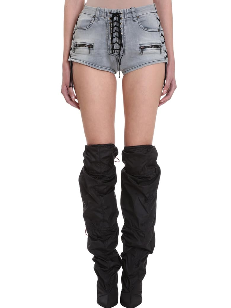 Ben Taverniti Unravel Project Lace Up Stone Wash Black Shorts - black
