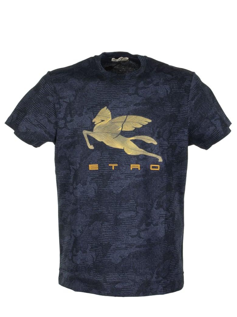 Etro T-shirt With Pegaso Print - Blue