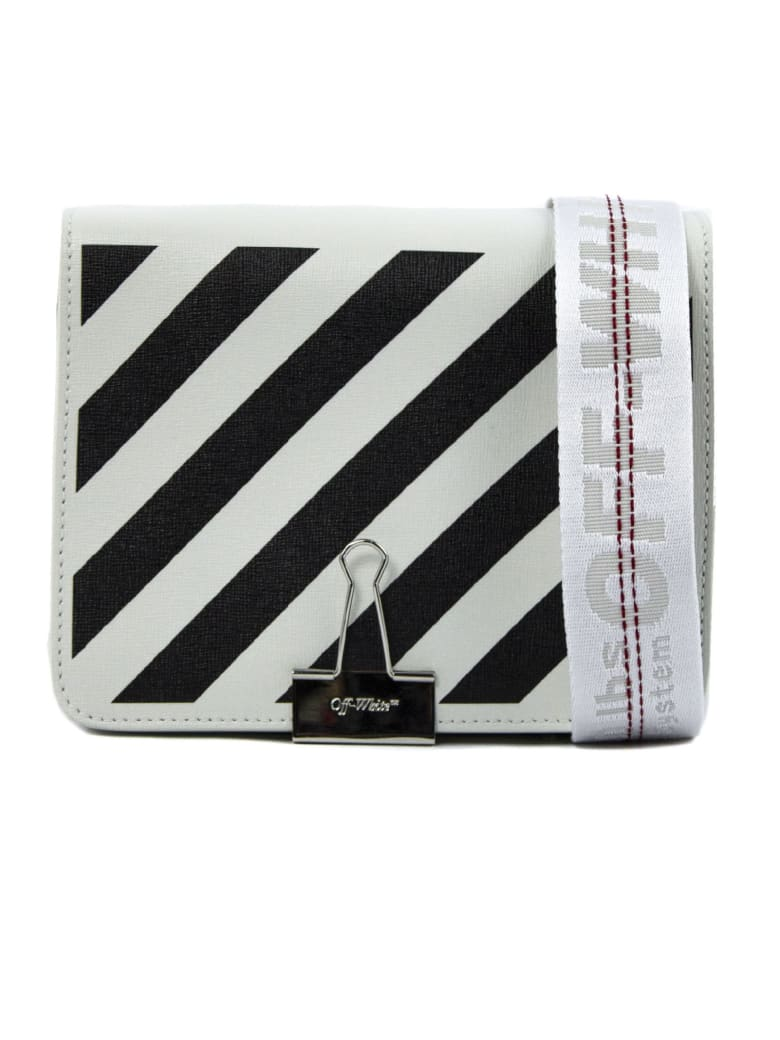 Off-White Saffiano Leather Shoulder Bag - Bianco+nero