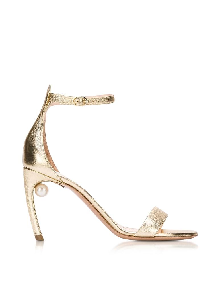 Nicholas Kirkwood Metallic Nappa 90mm Mira Pearl Sandals - Gold