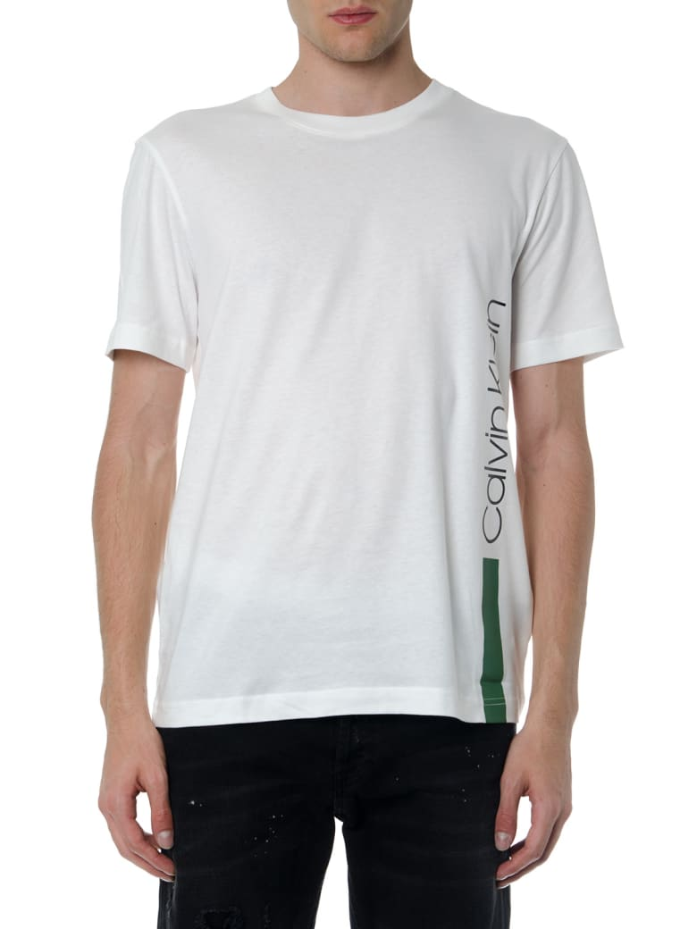Calvin Klein Ecru T Shirt In Cotton With Green Side Logo - Ecru