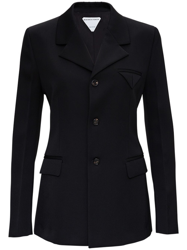 Bottega Veneta Black Single Breasted Wool Blazer - Black