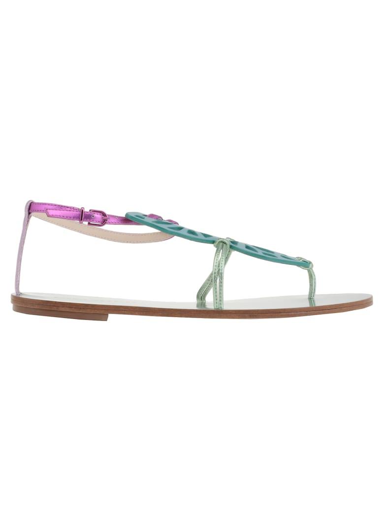Sophia Webster Bibi Butterfly Flat Sandal - Pink & Blue