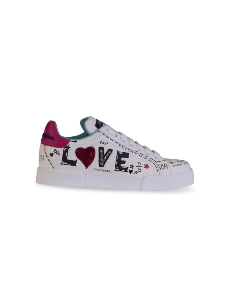 Dolce & Gabbana Love Graffiti Logo Sneakers - BIANCO