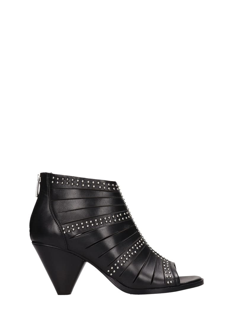 Janet & Janet Open Toe Black Leather Ankle Boots - black