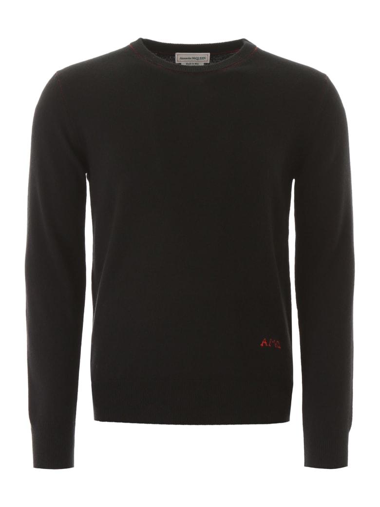 Alexander McQueen Sweater With Logo Embroidery - Black/red