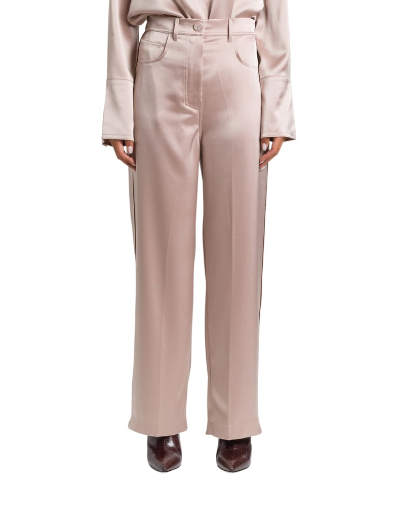 Nanushka Satin Wide-leg Trousers - Beige