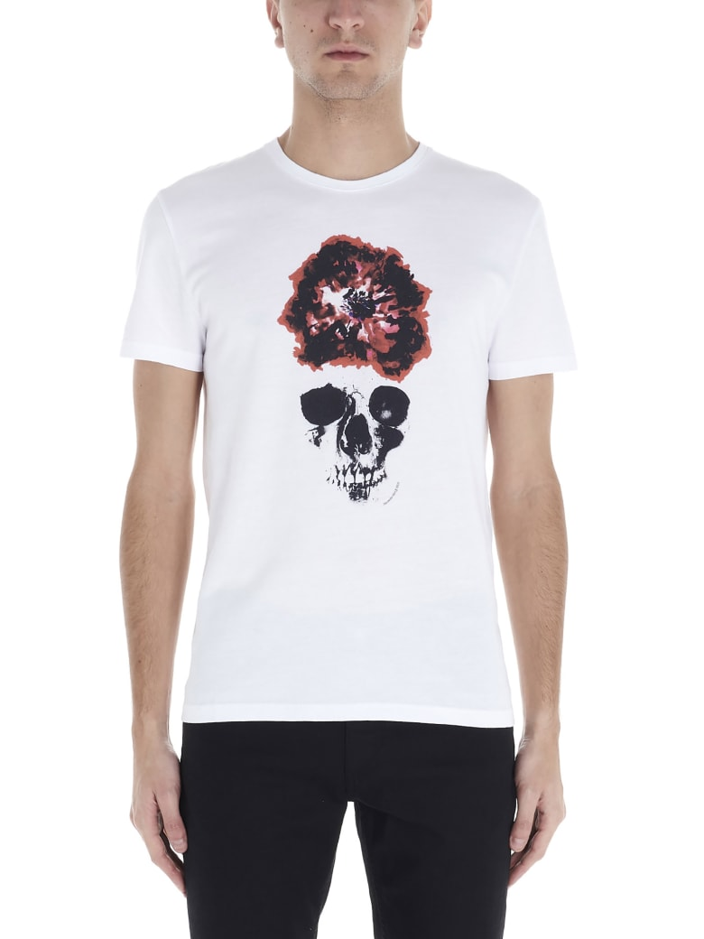 Alexander McQueen 'ink Flower Skull' T-shirt - White