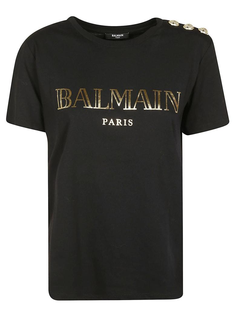 Balmain Button Embellished Logo T-shirt - Black