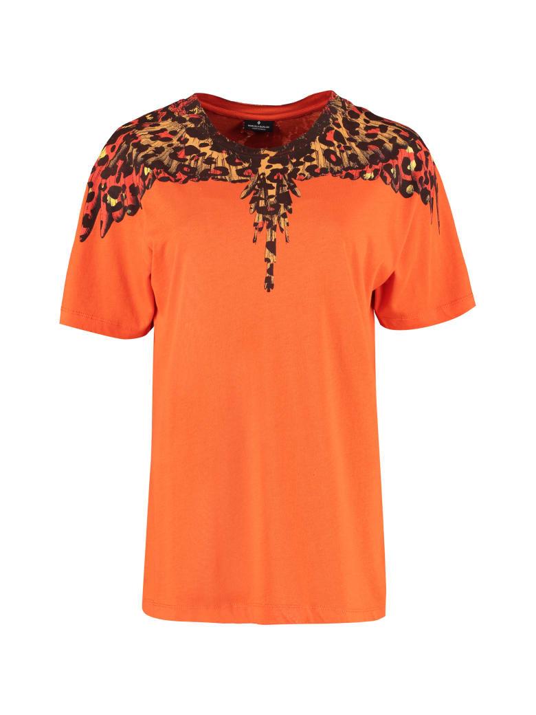 Marcelo Burlon Printed Short Sleeve Cotton T-shirt - Orange