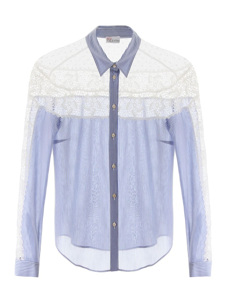 RED Valentino Shirt With Lace And Plumetis Insert - NUBE (Light blue)