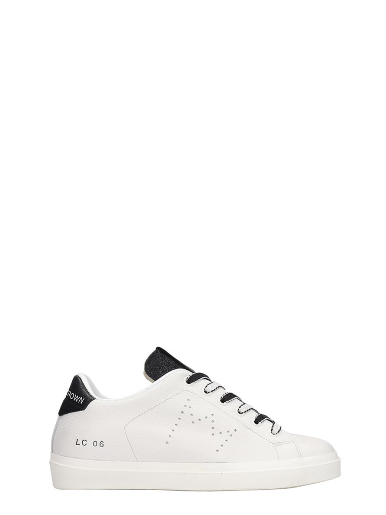 Leather Crown Sneakers In White Leather - white