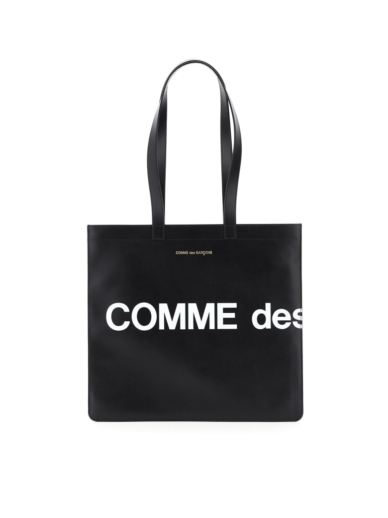 Comme des Garçons Wallet Leather Tote Bag With Logo - Nero