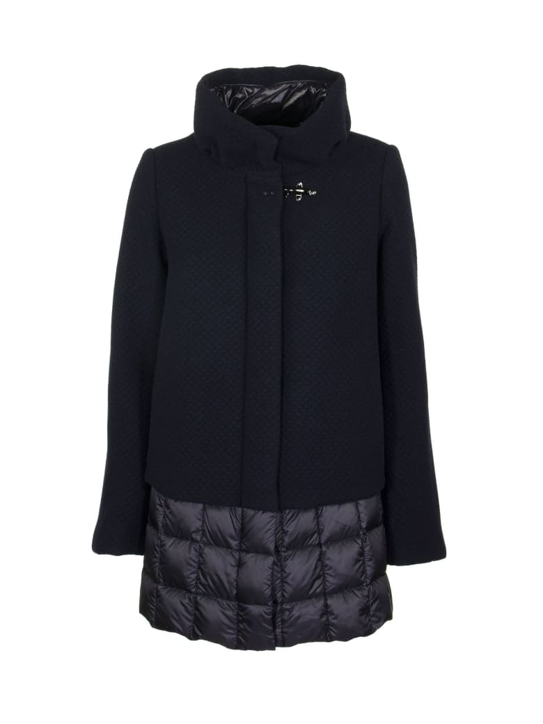 Fay Quilted Single-breasted Coat - Blue