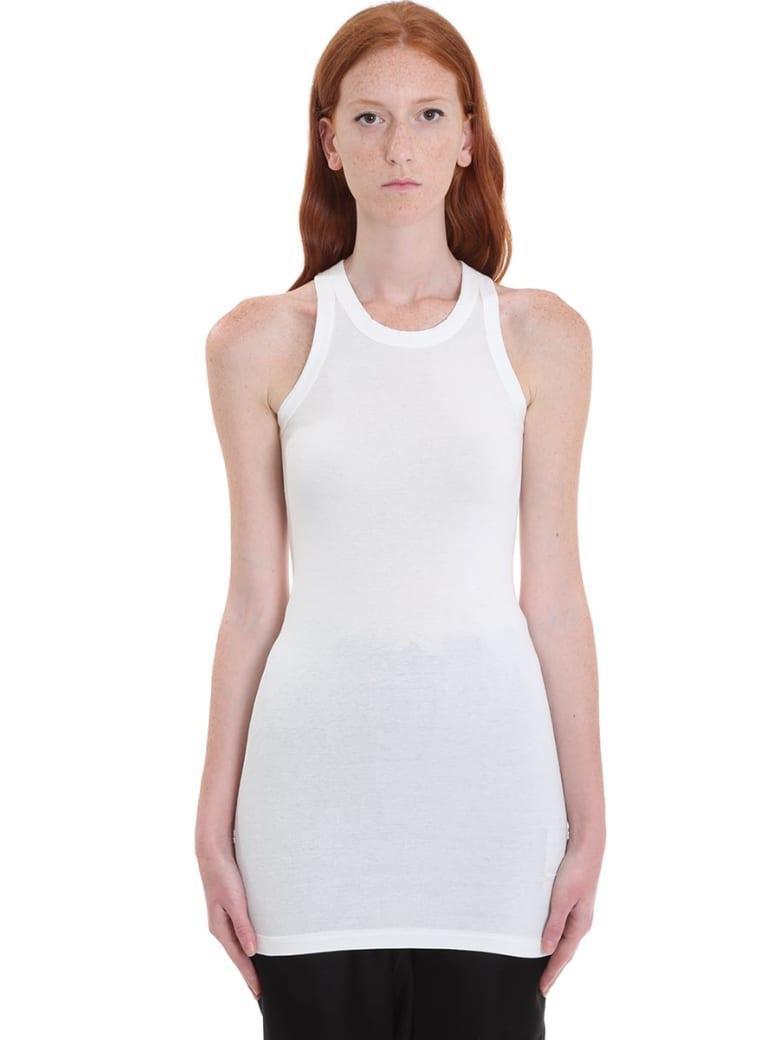 DRKSHDW Rib Tank Topwear In White Cotton - white