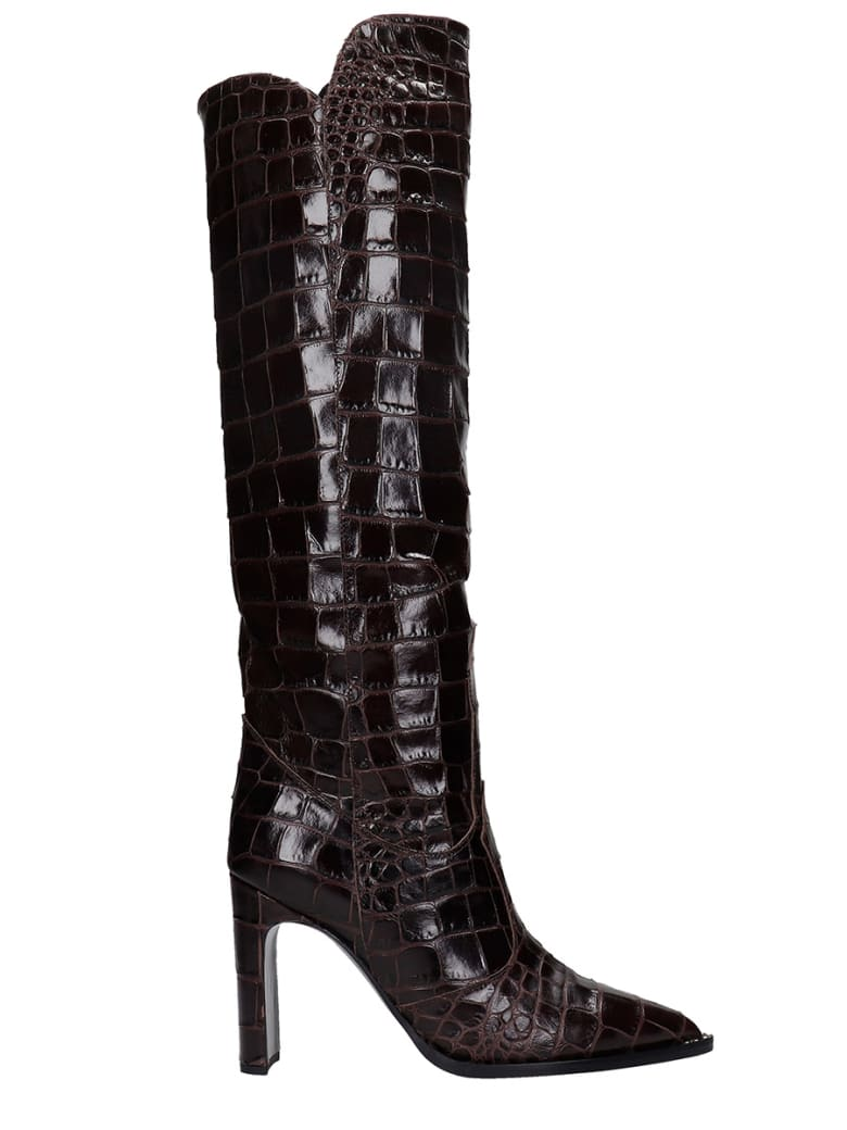 Kate Cate High Heels Boots In Brown Leather - brown