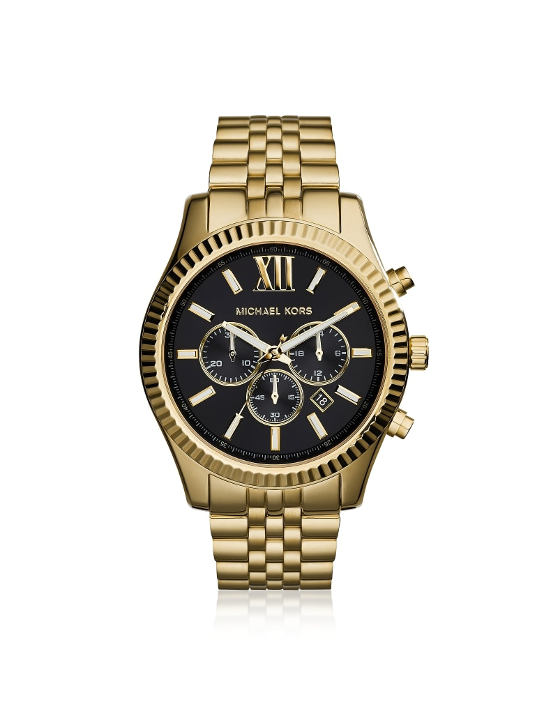 Michael Kors Lexington Gold Tone Chronograph Men's Watch - Gold