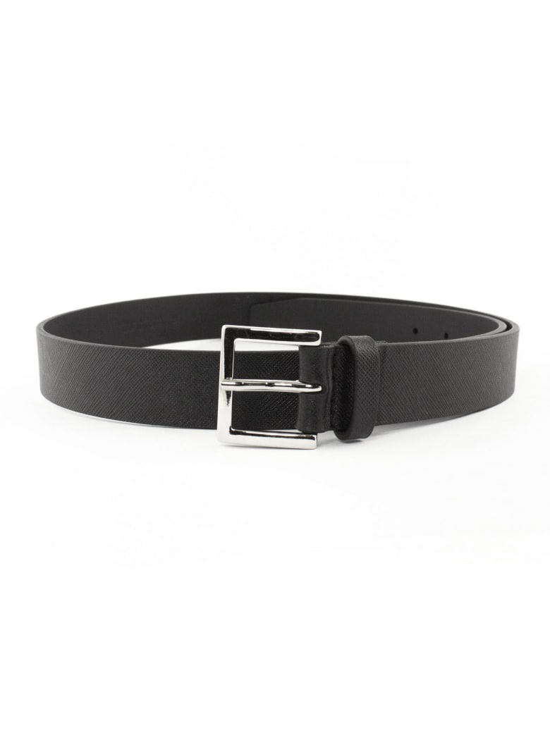 Orciani Black Saffiano Leather Belt - Nero