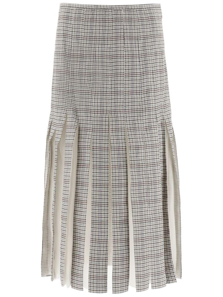 Gabriela Hearst Binka Midi Wool Skirt - MINI CHECK (Brown)