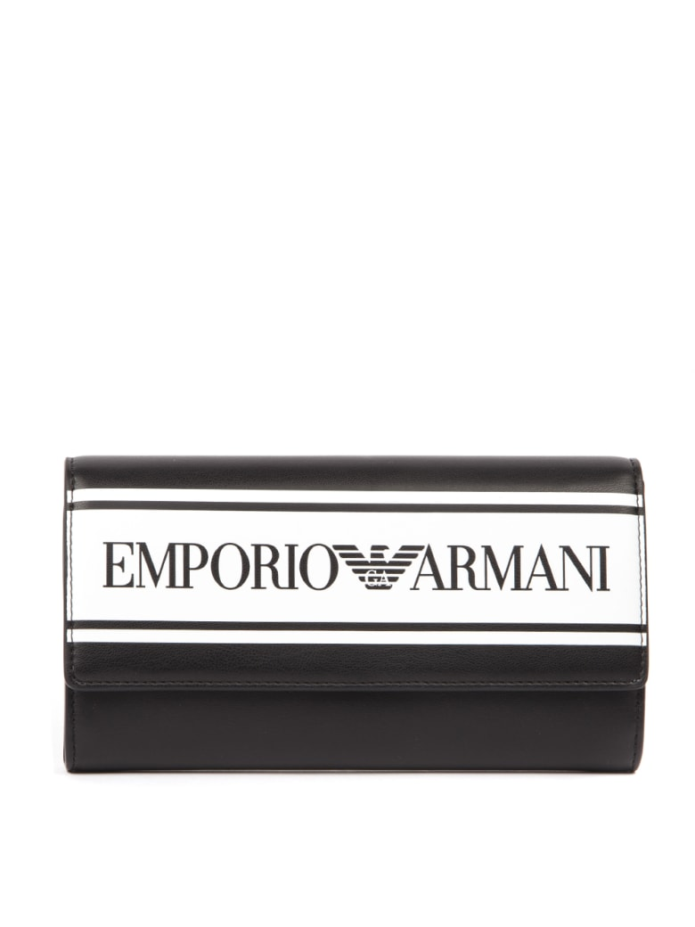 Emporio Armani Black Faux Leather Wallet - Black/white