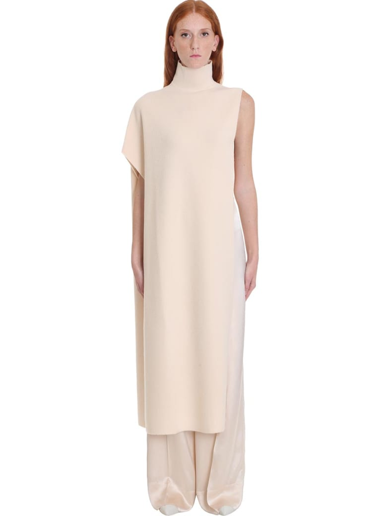 Jil Sander Cape Dress In Beige Wool - beige