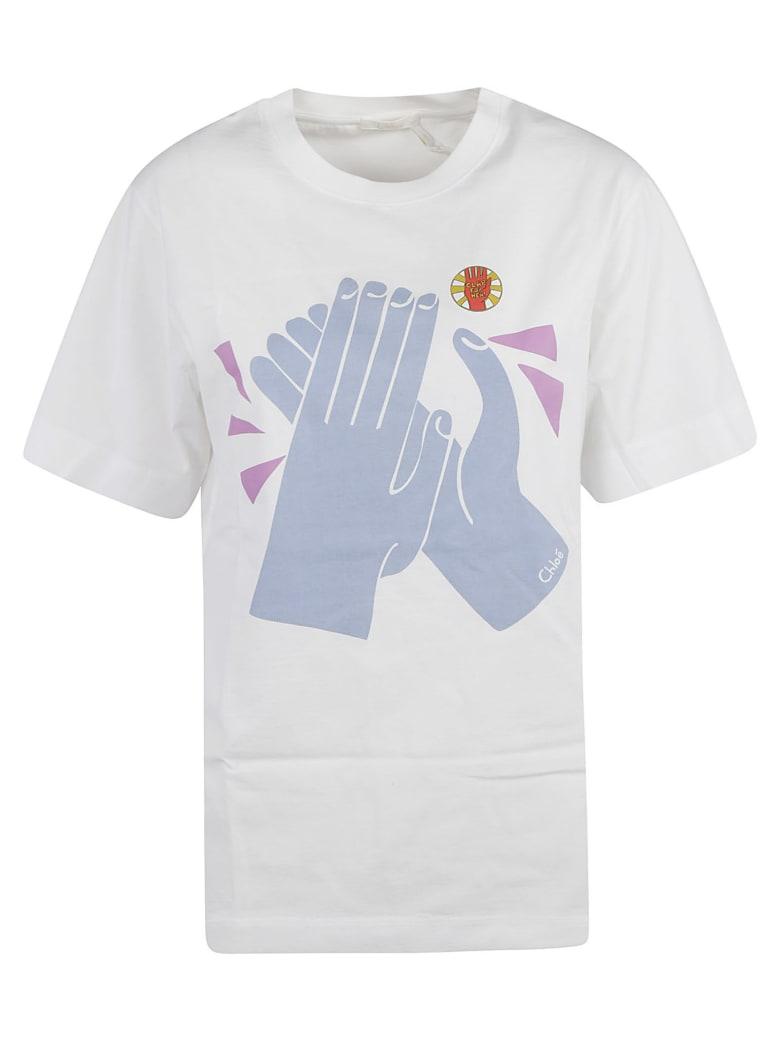 Chloé Printed T-shirt - White/Blue